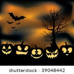 an eerie pumpkin patch with... | Shutterstock .eps vector #39048442