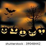 an eerie pumpkin patch with... | Shutterstock .eps vector #39048442