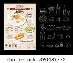 vintage poster. breakfast menu... | Shutterstock .eps vector #390489772