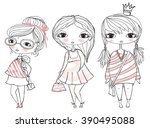 stylish fashion girls with bags.... | Shutterstock .eps vector #390495088