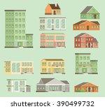 flat vector buildings.   Shutterstock .eps vector #390499732