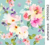 seamless pattern with flowers... | Shutterstock . vector #390500062