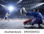 hockey players shoots the puck... | Shutterstock . vector #390500452