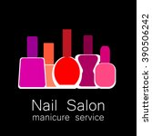 nail salon logo. symbol of... | Shutterstock .eps vector #390506242