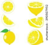 lemon  lemon slices  set of... | Shutterstock .eps vector #390507952