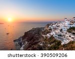 view over oia village at... | Shutterstock . vector #390509206