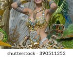a woman in costume dancing on... | Shutterstock . vector #390511252