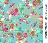 Violet Pansy Seamless Pattern.