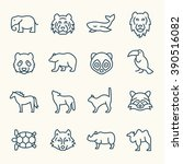 animals line icons | Shutterstock .eps vector #390516082