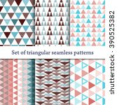 set of seamless triangle... | Shutterstock .eps vector #390525382