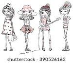 cute stylish girls teenagers   Shutterstock .eps vector #390526162