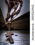 catholic wooden rosary beads... | Shutterstock . vector #390532942