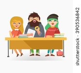 students sitting at the desk... | Shutterstock .eps vector #390536842