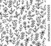 floral black and white seamless ... | Shutterstock .eps vector #390545005