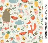 seamless summer background in... | Shutterstock .eps vector #390549772