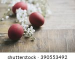 Red Easter Eggs And Spring...