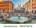 spanish steps at morning in... | Shutterstock . vector #390573676
