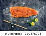 Stock photo raw salmon fish steak with ingredients like lemon pepper sea salt and dill on black board 390576775