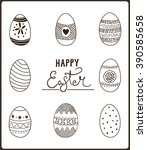 set of easter eggs. hand drawn... | Shutterstock .eps vector #390585658