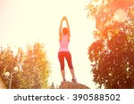sporty athletic woman training...   Shutterstock . vector #390588502