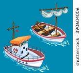 modern yacht and sailboat....   Shutterstock .eps vector #390604006