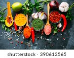various kind of spices on dark... | Shutterstock . vector #390612565