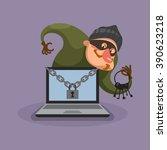 hacker breaks into computer.... | Shutterstock . vector #390623218