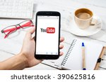 Постер, плакат: Smartphone with YouTube app
