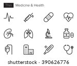 Stock vector medicine and health vector icons set thin line outline 390626776