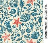 vector sea shells seamless... | Shutterstock .eps vector #390631546