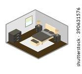 modern bedroom isometry vector | Shutterstock .eps vector #390631576