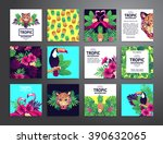 tropical printable set. vector... | Shutterstock .eps vector #390632065