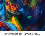 people are colored fluorescent... | Shutterstock . vector #390637012