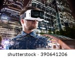 double exposure  man wearing... | Shutterstock . vector #390641206