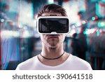 man wearing virtual reality... | Shutterstock . vector #390641518