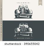 retro car illustration on dark...   Shutterstock .eps vector #390655042