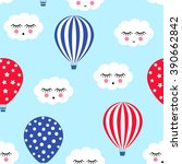 hot air balloons with cute... | Shutterstock .eps vector #390662842