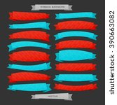 set of 3d style ribbon banners... | Shutterstock .eps vector #390663082
