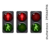 traffic light  man stands walk... | Shutterstock .eps vector #390666946