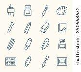 art supplies line icons