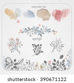 fairy watercolors wreaths and...   Shutterstock . vector #390671122