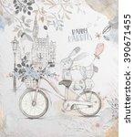 fairy watercolor background... | Shutterstock . vector #390671455