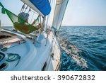 man relaxing in a hammock on... | Shutterstock . vector #390672832