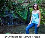 beautiful russian girl posing...   Shutterstock . vector #390677086