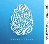 happy easter greeting card ... | Shutterstock .eps vector #390680488
