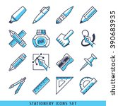 stationery icons set lines blue ... | Shutterstock .eps vector #390683935