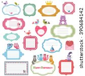 frames and stickers with animals | Shutterstock .eps vector #390684142