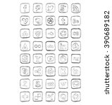 drawn social media icons vector | Shutterstock .eps vector #390689182