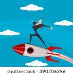 flying businessman cartoon... | Shutterstock .eps vector #390706396