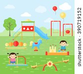 children playing in the... | Shutterstock .eps vector #390719152